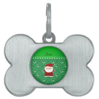 Custom name santa green santa hats snowflakes pet name tags