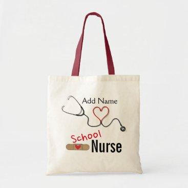 Christmas Themed Custom Name School Nurse's Tote