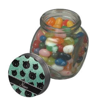 Custom name seafoam green glitter black cat faces glass candy jars