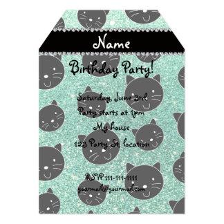 Custom name seafoam green glitter black cat faces 5x7 paper invitation card