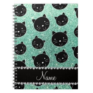 Custom name seafoam green glitter black cat faces spiral note books
