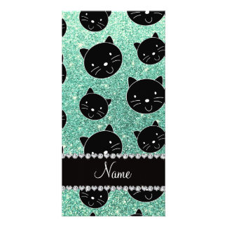Custom name seafoam green glitter black cat faces personalized photo card