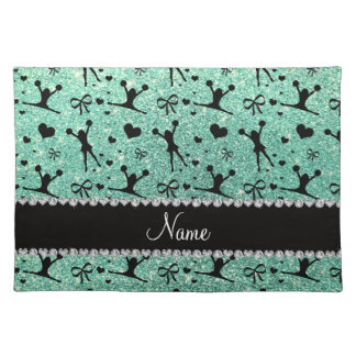 Custom name seafoam green glitter cheerleading cloth placemat