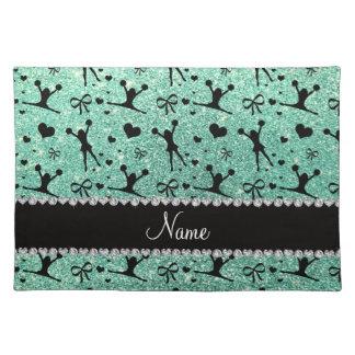 Custom name seafoam green glitter cheerleading cloth placemat