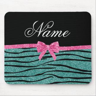Custom name seafoam green glitter zebra stripes mouse pad