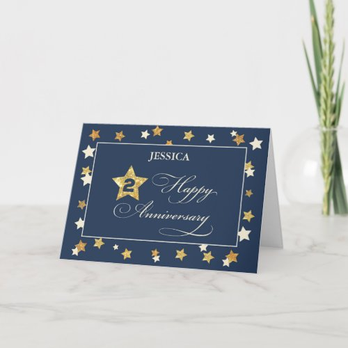 Custom Name Second Employee Anniversary Navy Gold Card