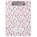 Custom Name Shabby Pink Roses Pattern Clipboard