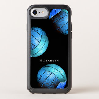custom name shades of blue women's volleyball speck iPhone case