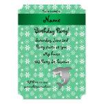 Custom name shark green snowflakes 5x7 paper invitation card