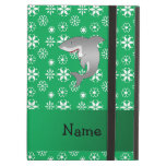 Custom name shark green snowflakes iPad air cover
