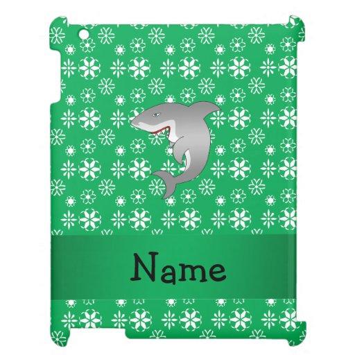 Custom name shark green snowflakes case for the iPad 2 3 4