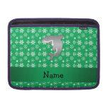 Custom name shark green snowflakes MacBook sleeves