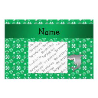 Custom name shark green snowflakes photo