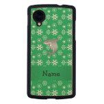 Custom name shark green snowflakes carved® maple nexus 5 case