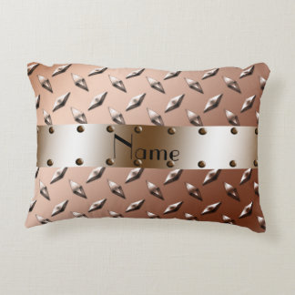 Custom name shiny brown diamond plate steel accent pillow