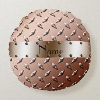 Custom name shiny brown diamond plate steel round pillow
