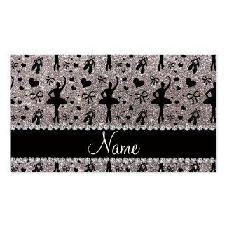 Custom name silver glitter ballerinas business card templates