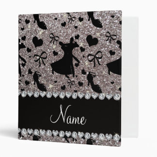 Custom name silver glitter ballroom dancing 3 ring binder