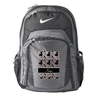 Custom name silver glitter ballroom dancing backpack