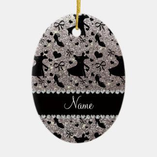 Custom name silver glitter ballroom dancing ceramic ornament