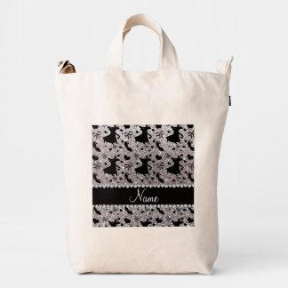 Custom name silver glitter ballroom dancing duck canvas bag
