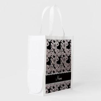 Custom name silver glitter ballroom dancing grocery bag