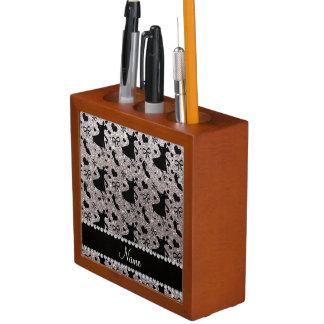 Custom name silver glitter ballroom dancing Pencil/Pen holder