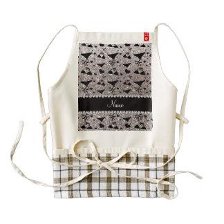 Custom name silver glitter bikini bows zazzle HEART apron