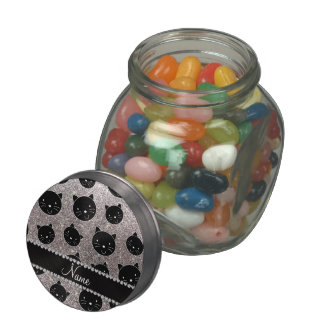 Custom name silver glitter black cat faces glass jars