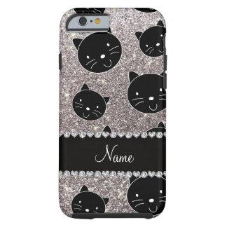 Custom name silver glitter black cat faces tough iPhone 6 case