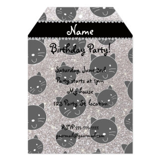 Custom name silver glitter black cat faces 5x7 paper invitation card