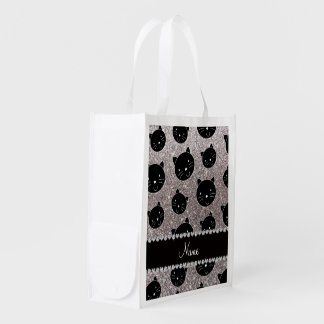 Custom name silver glitter black cat faces reusable grocery bag