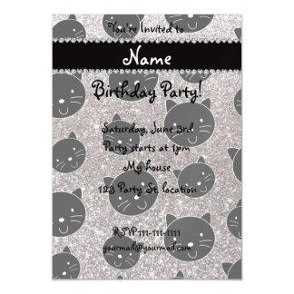 Custom name silver glitter black cat faces magnetic invitations