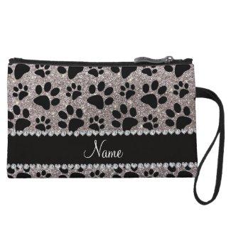 Custom name silver glitter black dog paws wristlet purse