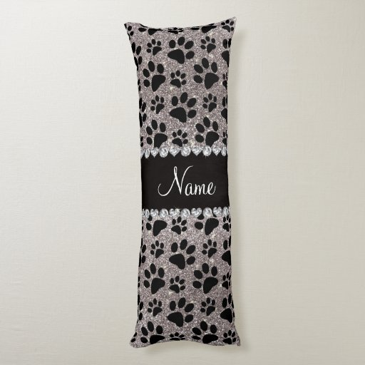 custom name silver glitter black dog paws body pillow zazzle. Black Bedroom Furniture Sets. Home Design Ideas