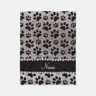 Custom name silver glitter black dog paws fleece blanket