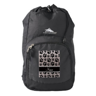 Custom name silver glitter black dog paws backpack