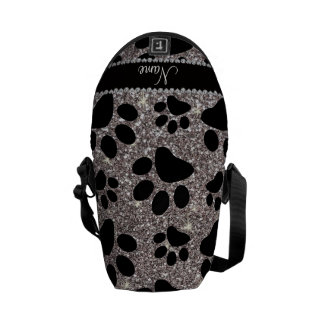 Custom name silver glitter black dog paws courier bag