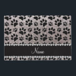 """Custom name silver glitter black dog paws placemat<br><div class=""""desc"""">Modern, trendy and girly Personalized custom name silver glitter (not real glitter) with an animal black dog paws (animal print) pattern with a pretty black diamond rhinestone stripe (not real diamonds) with beautiful hearts and dots personalized with just add your name gifts or monogram gifts or your initials. Ideal for...</div>"""