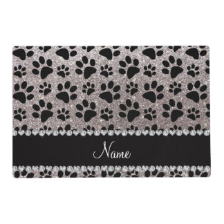 Custom name silver glitter black dog paws placemat