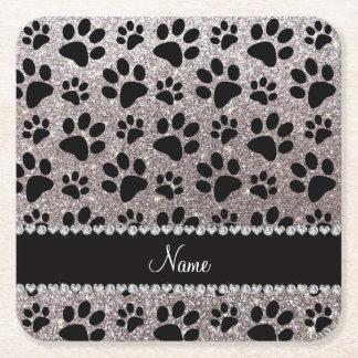 Custom name silver glitter black dog paws square paper coaster