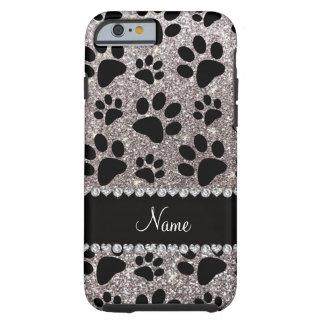 Custom name silver glitter black dog paws tough iPhone 6 case