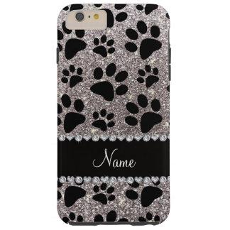 Custom name silver glitter black dog paws tough iPhone 6 plus case
