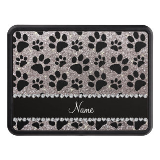 Custom name silver glitter black dog paws tow hitch cover