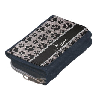 Custom name silver glitter black dog paws wallet