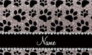 3482d91414 Custom name silver glitter black dog paws wristlet wallet
