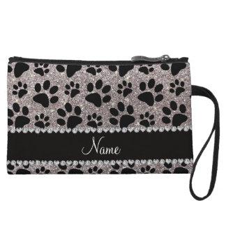 Custom name silver glitter black dog paws wristlet wallet