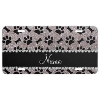 Custom name silver glitter bones dog paws license plate