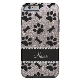 Custom name silver glitter bones dog paws tough iPhone 6 case