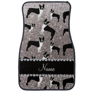 Custom name silver glitter boston terrier car mat
